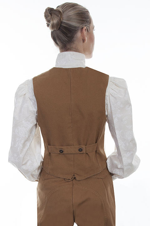 Scully Rangewear Old West Collection Canvas Vest Tan Back