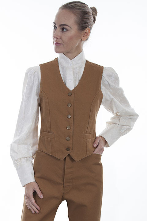 Scully Rangewear Old West Collection Canvas Vest Tan Front