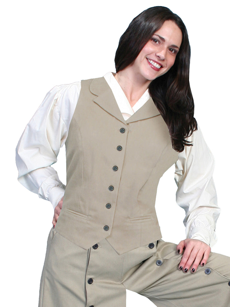 Scully Rangewear Ladies Old West Victorian Twill Vest Tan
