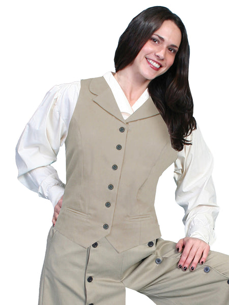 Scully Rangewear Ladies Old West Victorian Twill Vest Brown