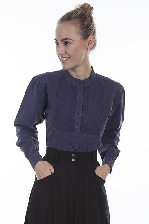 Scully Ladies Rangewear Blouse with Embroidered Bib Blue Front