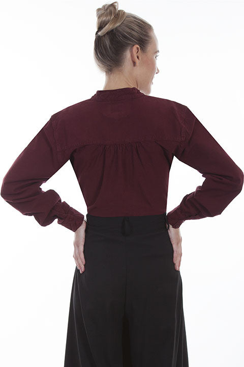 Scully Ladies Rangewear Blouse with Embroidered Bib Burgundy Back
