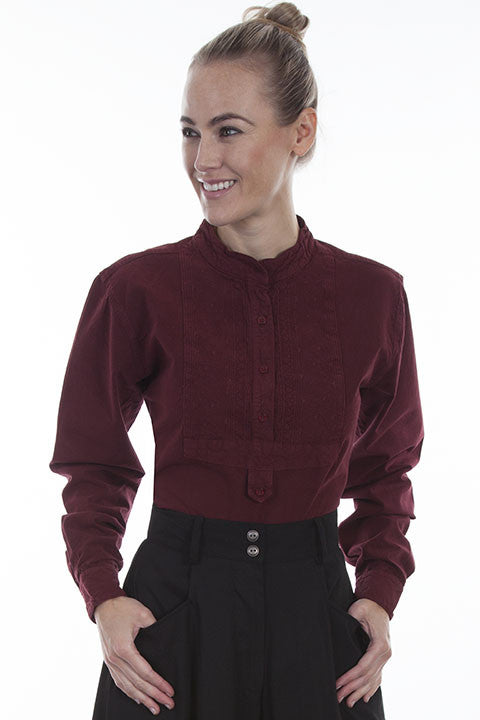 Scully Ladies Rangewear Blouse with Embroidered Bib Burgundy Front