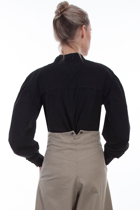 Scully Ladies Rangewear Old West Blouse with Inset Bib Black