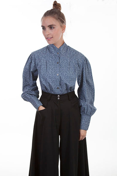 Scully Ladies' Old West Rangewear Blouse Blue Calico Print