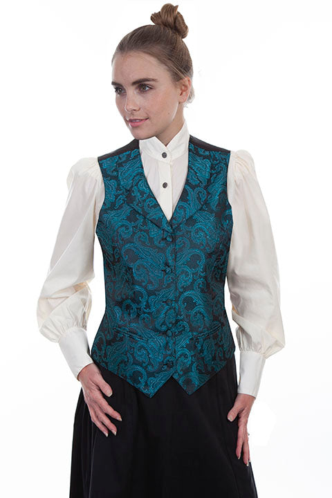Scully Ladies' Old West Rangewear Vest Teal Paisley Front