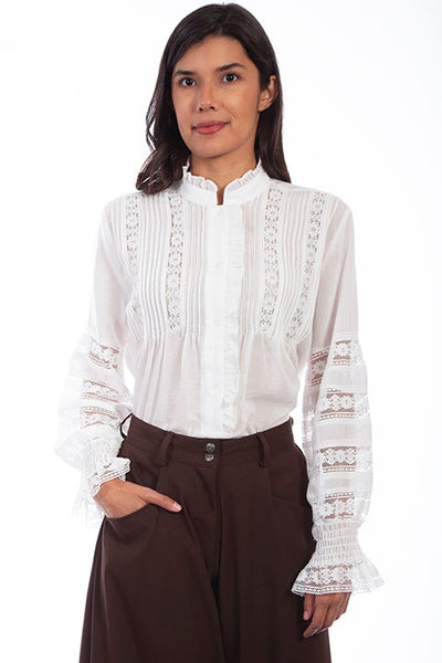 Scully Ladies' Old West Rangewear Poet Blouse White Front RW613