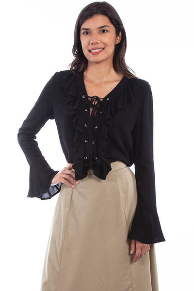 Scully Ladies' Rangewear Laced Up Ruffle Front Blouse Black Front RW614