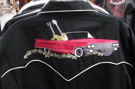 Vintage Inspired Western Shirt Mens Cars & Guitars Black Back S-4XL