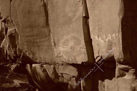 In The Lens Photography: Circle Petroglyph, Palatki Ruins, Sedona Sepia