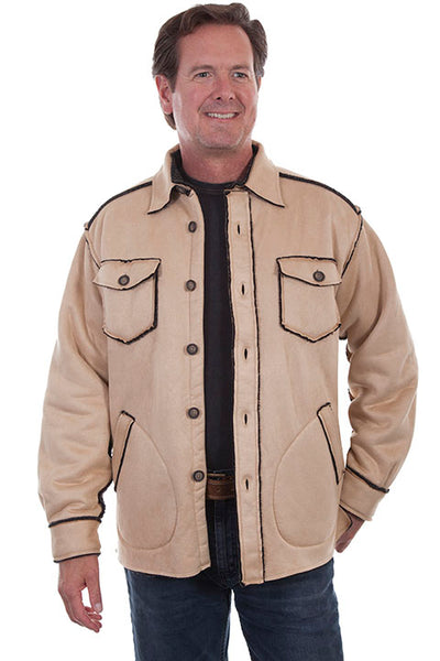 Men's Farthest Point Faux Sherpa Jacket Tan Front #TR-070