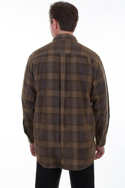 Men's Farthest Point Corduroy Plaid Navy Brown Front TR-083