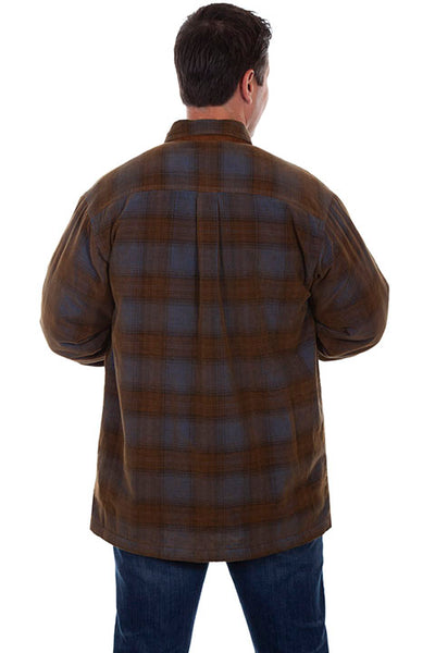 Scully Men's Farthest Point Plaid Shirt Blue Brown Front