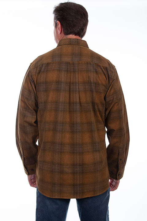 Men's Farthest Point Corduroy Plaid Coffee Grey Back TR-105