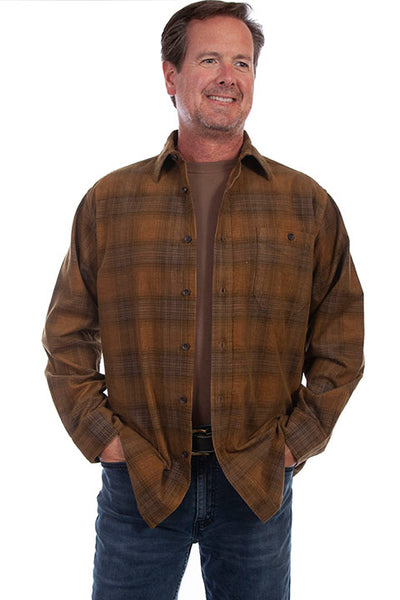 Men's Farthest Point Corduroy Plaid Coffee Grey Front TR-105