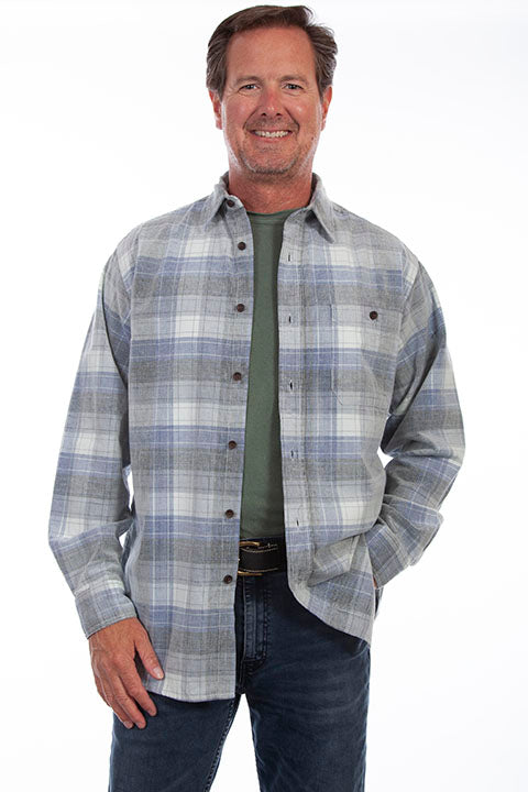 Men's Farthest Point Corduroy Blue Grey Plaid TR-107 Front