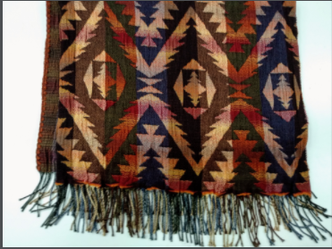 Rhonda Stark Italian Knit Shawl Aztec Adobe with Fringe Side View