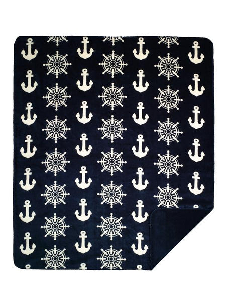 Denali Blankets Anchors and Wheels Throw Blanket Front