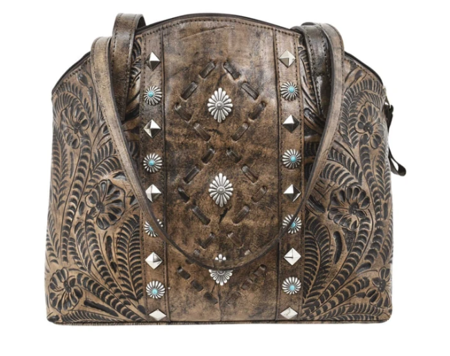 American West Annie's Secret Half Moon Tote Distressed Charcoal