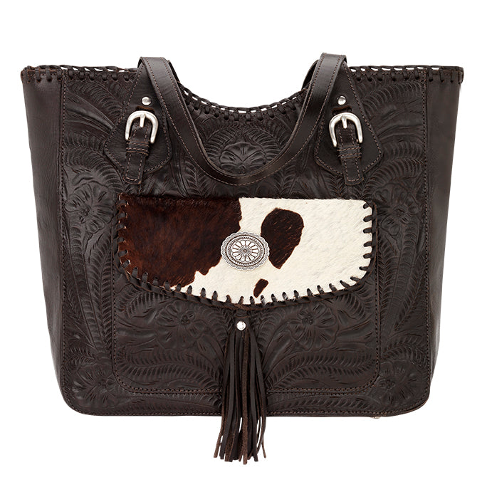 American West Handbag, Annie's Secret Collection, Tote, Pocket, Front Chocolate with Pony Print
