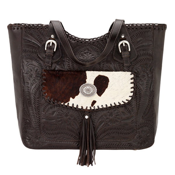 American West Handbag, Annie's Secret Collection, Tote, Pocket, Front Charcoal Brown