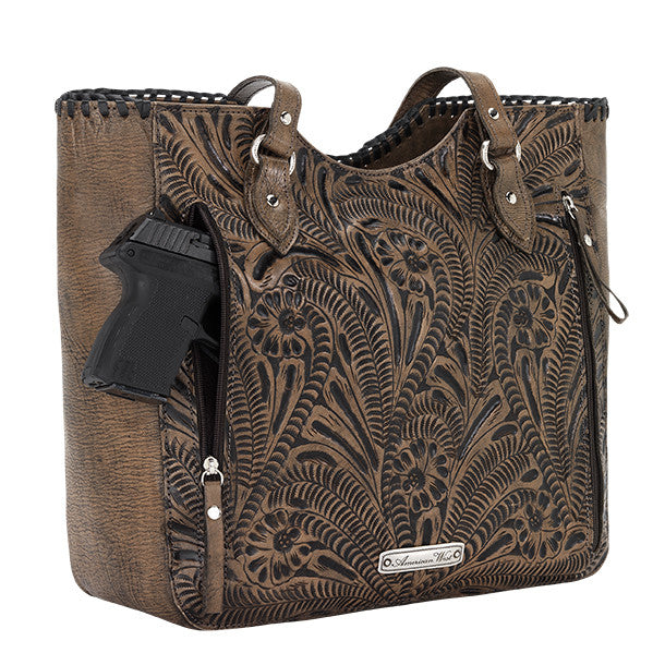 American West Handbag, Annie's Secret Collection, Tote, Pocket, Gun Charcoal Brown