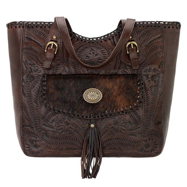 American West Handbag, Annie's Secret Collection, Tote, Pocket, Front Chestnut Brown