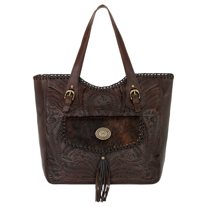 American West Handbag, Annie's Secret Collection, Tote, Pocket, Front Chocolate Brown