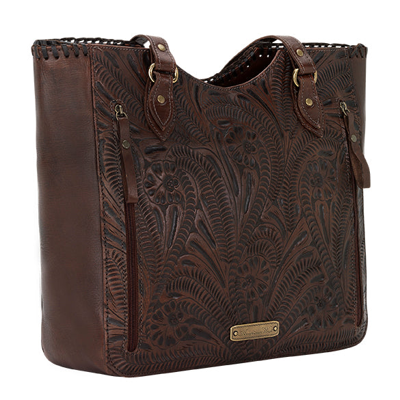 American West Handbag, Annie's Secret Collection, Tote, Pocket, Back Chestnut Brown