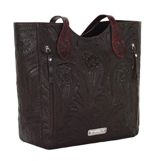 American West Handbag, Annie's Secret, Tote, Tooled, Back Chocolate