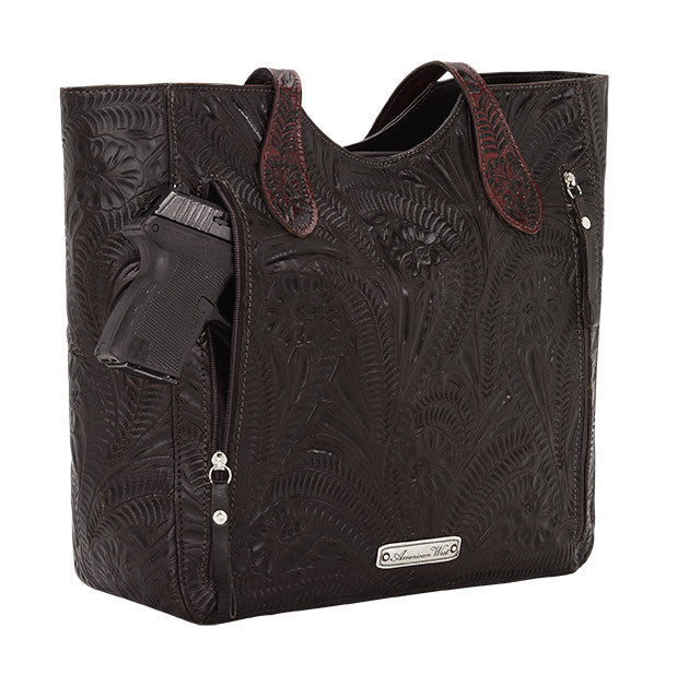 American West Handbag, Annie's Secret, Tote, Tooled, Gun Chocolate