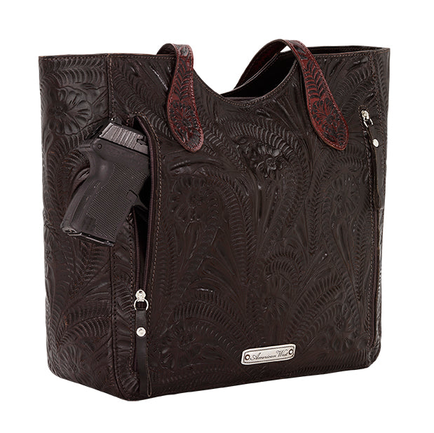 American West Handbag, Annie's Secret Collection, Tote, Pocket, Back Chocolate Brown