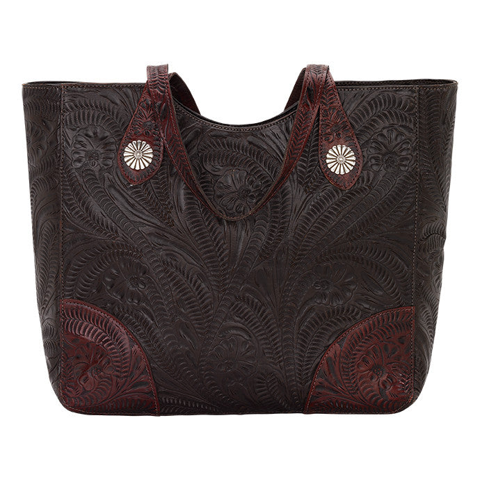 American West Handbag, Annie's Secret, Tote, Tooled, Front Chocolate