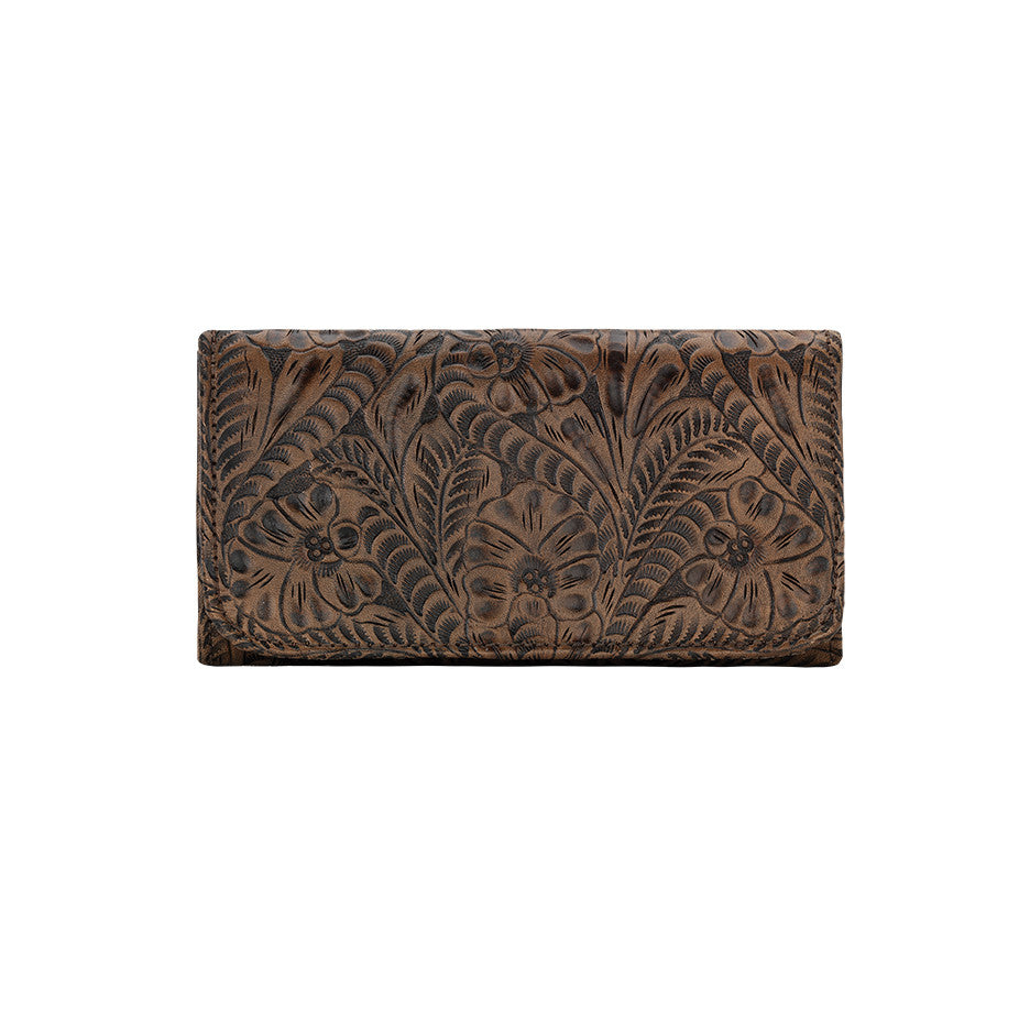 American West Handbag, Annie's Secret, Tri-Fold Wallet, Tooled, Front Charcoal Brown