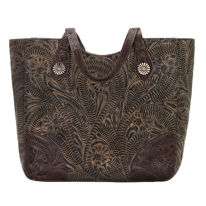 American West Handbag, Annie's Secret, Tote, Tooled, Front Chocolate Brown