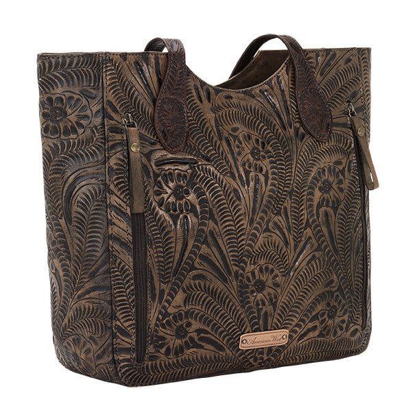 American West Handbag, Annie's Secret, Tote, Tooled, Back Chocolate Brown
