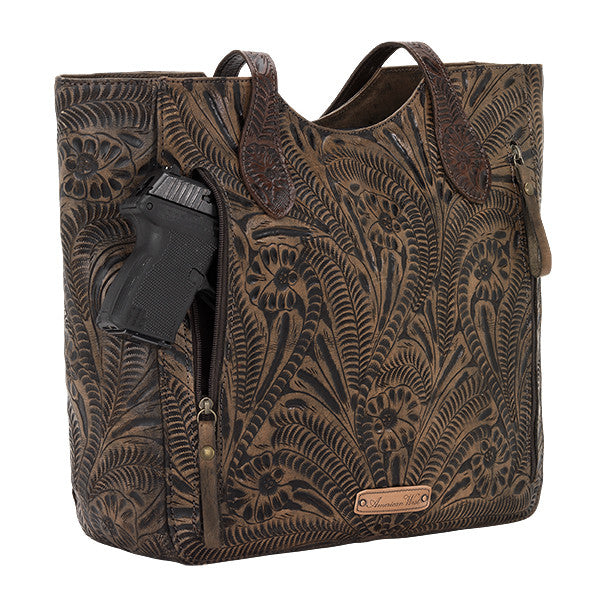 American West Handbag, Annie's Secret, Tote, Tooled, Gun Chocolate Brown
