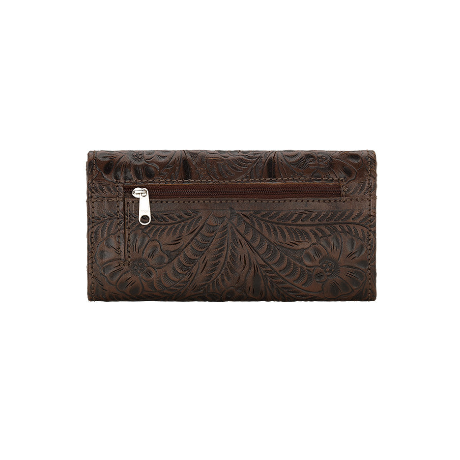 American West Handbag, Annie's Secret, Tri-Fold Wallet, Tooled, Back Chestnut Brown