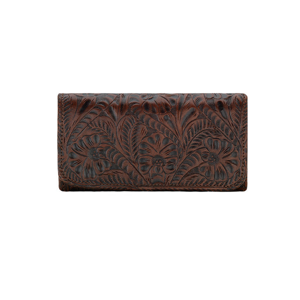 American West Handbag, Annie's Secret, Tri-Fold Wallet, Tooled, Front Chestnut Brown