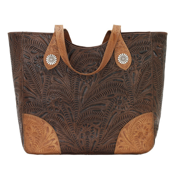 American West Handbag, Annie's Secret Collection, Tote, Front Chestnut Brown