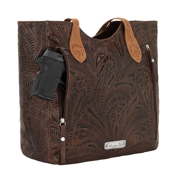 American West Handbag, Annie's Secret Collection, Tote, Gun, Chestnut Brown