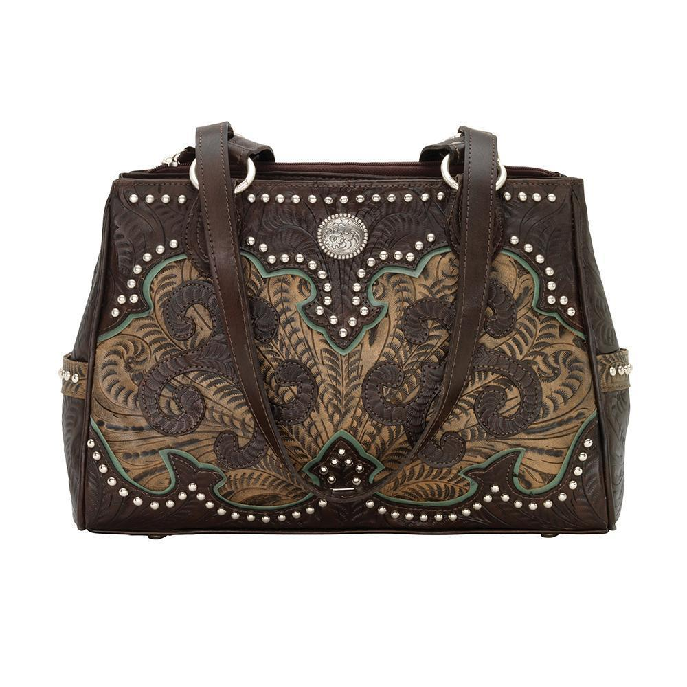 American West Annie's Secret Concealed Carry Shoulder Handbag Multicompartment Chocolate Front