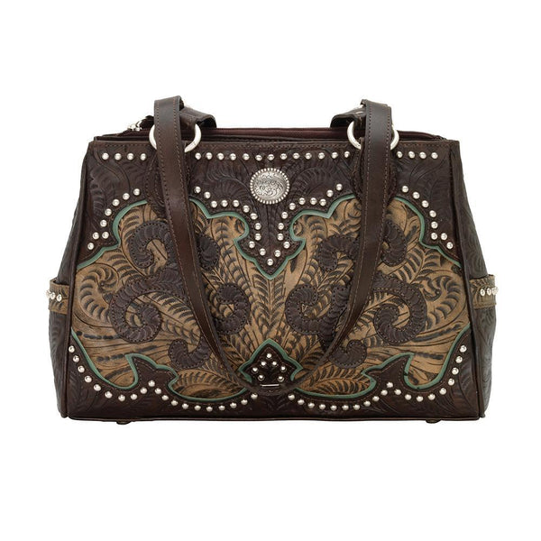 American West Annie's Secret Concealed Carry Shoulder Handbag Multicompartment Turquoise Front