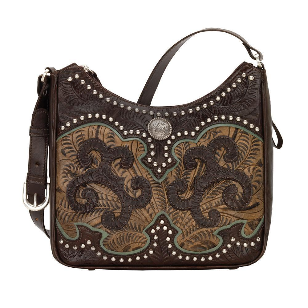 American West Annie's Secret Concealed Carry Shoulder Bag Front Chocolate