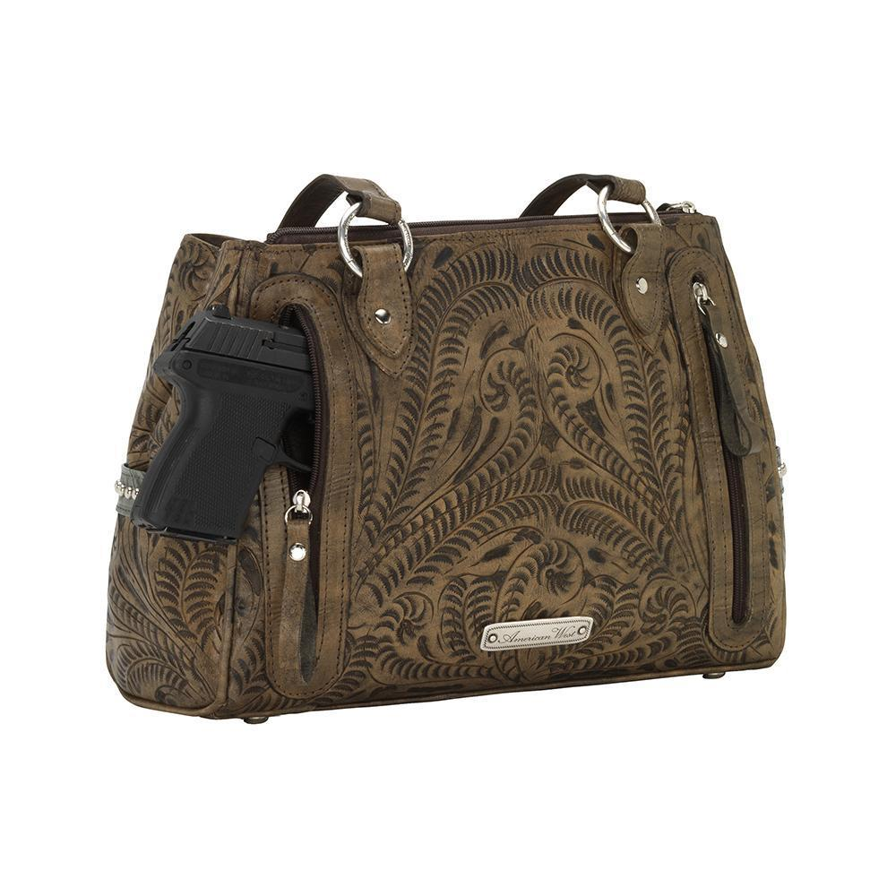 American West Annie's Secret Concealed Carry Shoulder Handbag Multicompartment Back with Gun