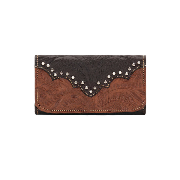 American West Handbag, Annie's Secret, Tri-Fold Wallet, Tooled, Front Antique Brown