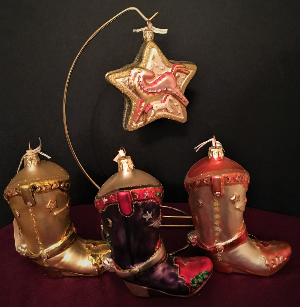 Artistry of Poland Glass Ornaments Four Piece Western Cowboy Collection