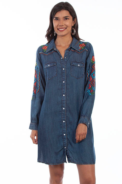 Scully Ladies' HC632 Denim Dress Aztec Embroidery Front