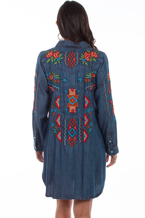 Scully Ladies' HC632 Denim Dress Aztec Embroidery Back