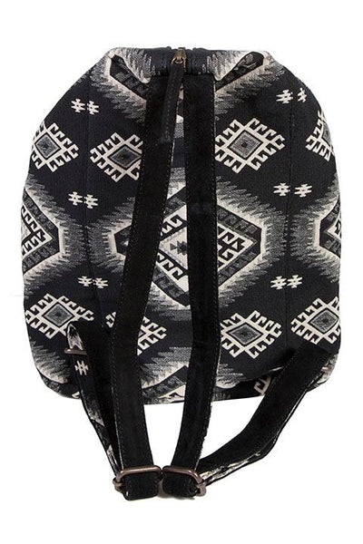 Scully Backpack Aztec Design White Black Fringe
